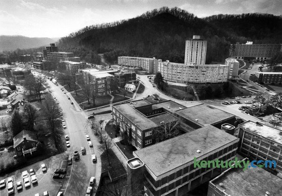 The campus of Morehead State University, Feb. 27, 1991. University Boulevard runs up the left side of the photo. The tall buidling in the upper right side is Mignon Tower, a 15-story coed residence hall for 300 students. The curvy buildings surrounding it are also dorms. Enrolment was 8,600 around the time of this photo. Today there are more than 11,000 students enrolled at the eastern Kentucky school, located in the foothills of the Daniel Boone National Forest in Rowan County. Photo by Charles Bertram | staff