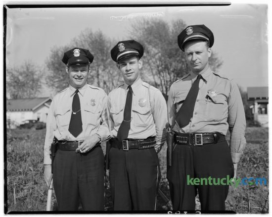 Three new Fayette County patrolmen, Thomas Shannon, Cecil White, and Richmond Taylor, appointed by County Judge W.E. Nicholas, began their patrol duty in April 1948. Forty police recruits will graduate today from the Lexington Police Training Academy, the largest class since 1998. Published in the Lexington Herald April 20, 1948. Herald-Leader Archive Photo