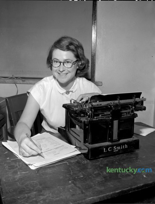 Janet Anderson, May 16, 1951, the editor of the University of Kentucky Kernel, who was awarded the Fullbright scholarship for graduate study abroad. She will enroll for a year's graduate work in journalism at the University of Glasgow, Scotland.  Published in Lexington Herald May 16, 1951. Herald-Leader Archive Photo