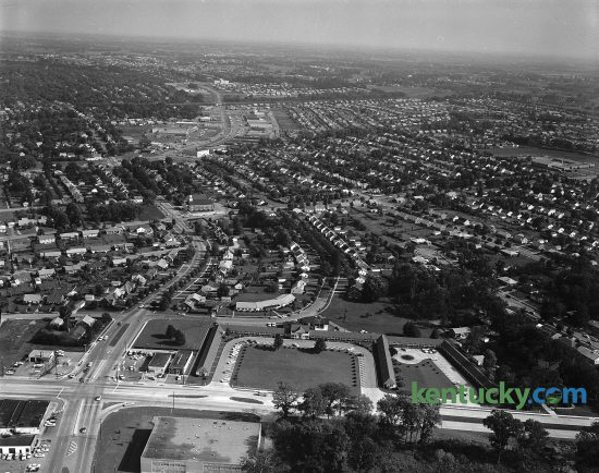 Aerial photo of the Springs Motel Looking east towards the Southland Shopping Center and subdivision. Harrodsburg Road runs left to right at the bottom of the photo. Lane Allen Road intersects it at the lower left corner. The motel opened in 1948 with 68 rooms on Harrodsburg Road, which was a two-lane road at the time. Published January 14, 1962. Herald-Leader Archive Photo
