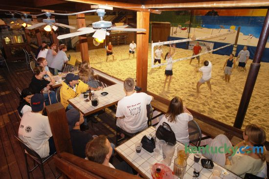 Patio area of A1A Sandbar and Grille overlooking a sand volleyball court, June 18, 2003 in Lexington. The bar used ot be on Wilhite Drive but moved to 367 East Main Street in 1994. It closed in 2004 and became several different bars in the years after. In April 2016, the building on Main Street was sold for $1.2 million to a developer who plans a five-story mixed-use building. The building was being torn down June 6, 2016. Photo by Mark Cornelison | staff