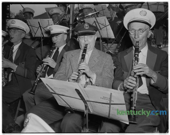 Lexington Leader managing editor C.G. Dickerson, second from right, swapped his typewriter for his clarinet April 23, 1948 and joined the Dailey Brothers circus band, for a one-day stand. Dickerson played along with Joe Pomillo, Rossi band regular during the show's holder performance. Herald-Leader Archive Photo