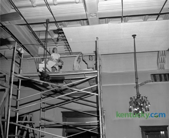 Workers were placing a new ceiling in the circuit courtroom of the Fayette courthouse on September 8, 1949. This was the first in a series of proposed improvements for the judicial chambers. The new ceiling is designed to give better acoustics and will have a level surface instead of the ornate ceiling. The last trial was held in the courthouse in 2002, and the Lexington History Center opened in 2003. During 2012, the courthouse was closed to the public because paint and asbestos were found in the upper floors. Restoration of the building is currently underway.  Published in the Lexington Herald September 9, 1949. Herald-Leader Archive Photo