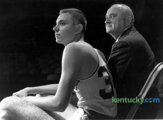 "Adolph ""Herky"" Rupp Jr., left, and his father, legendary University of Kentucky basketball coach Adolph Rupp watch a 1959 team practice. Herky grew up around UK basketball and played three seasons for his dad, scoring 11 points in 14 career games from 1959 to 1962. He died June 22, 2016. Herald-Leader archive photo"