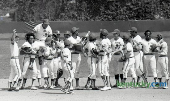 Henry Clay baseball coach Walter Hill was carried off the field on the shoulders of his players after they won the State High School Baseball championship 5-4 over St. Xavier June 7, 1963 at UK's Shively Field. This year's KHSAA state baseball championship game will be played at Whitaker Bank Ballpark at 7pm tonight. Photo by E. Martin Jessee | Staff