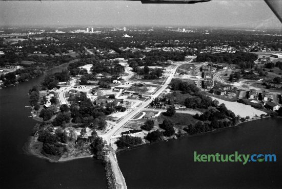 Aerial view of Lakeshore Drive and Lakeview Estates which was in the process of being developed in late August 1973. The fashionable new neighborhood was being developed along the reservoirs formerly operated by Kentucky-American Water Company. This view from the south looking north shows homes still under construction and an apartment complex at 515 Lake Tower Drive. Photo by John C. Wyatt | Staff