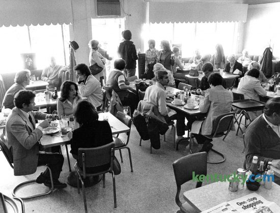 The dinning room of the Saratoga Restaurant, 856 East High Street in Lexington in April of 1978.The Saratoga was a Chevy Chase landmark and best known for its characters: bookies, college professors, socialites and city hall types. Totsie Rose opened it in 1953 and named it after the famous Saratoga Race Track in New York. Ted Mims owned it from 1977 to 1989. He bought it from Ed Whitlock, who had bought it from Rose. Rob Ramsey and Joe Reilly, co-owners of Ramsey's Diner, owned it for a short time. A Toga menu, served from 10 p.m. to 1 a.m. Monday through Saturday, featured Mrs. McKinney's snappy beer cheese ($2.95), fried bologna ($2.50), cold meatloaf on white ($4.95) and fried egg sandwich ($2.50). The hot plate special for a Derby weekend was chicken and dumplings for $6.95. Photo by John C. Wyatt | staff