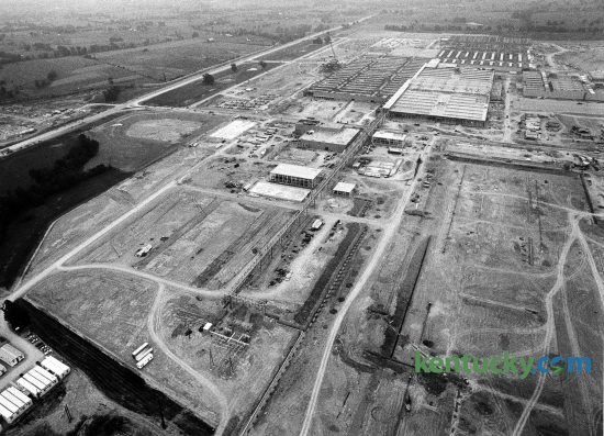 Aerial view showed construction progress on the Toyota Motor Manufacturing plant in Scott County near Georgetown, May 21, 1987. The plant, Toyota's largest manufacturing plant outside of Japan, began production in May 1988, building the 1989 model four-cylinder Camry. To the left is Cherry Blossom Way. Photo by Frank Anderson | Staff