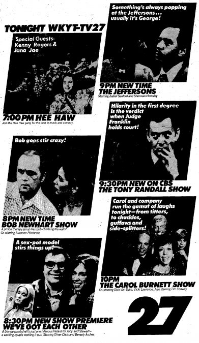 Advertisment in the Saturday Herald and Leader, Oct. 1, 1977, for the primetime TV line-up on WKYT-27 in Lexington. Highlights include Hee Haw, the Bob Newhart Show and The Jeffersons.