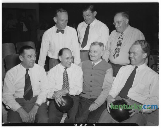 Lions Den Bowling Team which finished first in the Service Clubs Bowling League at Blue Grass Lanes on April 12, 1948.  Front, Monroe Shepherd, Alvin Meyer, Dan Haefling, and R.J. Manning.  Second Row, E.W. Essig, I.B. Jones and I.J. Abraham. Published in the Lexington Herald April 22, 1948. Herald-Leader Archive Photo