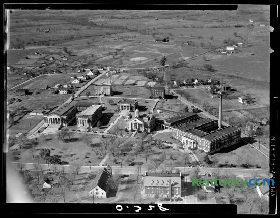 Aerial view of Asbury College in Wilmore in Jessamine County, 1940. At the time of this photo, enrolment was just above 500. Today, the four-year, multi-denominational institution in Jessamine County teaches about 1,800 studnts. It was renamed Asbury University in 2010. The building in the middle with the white dome is the Hager Administration Building. Running left to right across the bottom of the photo is North Lexington Avenue. Sister school, Asbury Theological Seminary, seperated from the college because of accreditation requirements around the time of this photo. Some of its buildings can bee seen along the bottom of the picture. Herald-Leader file photo