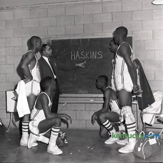 Dunbar coach S.T. Roach emphasized a point which could lead his Bearcats into the semi-finals of the Kentucky High School State Tournament in Louisville in March 1963. Dunbar was to meet Clem Haskins and the Taylor County Cardinals on March 15, 1963. The Bearcats beat Taylor County 65-64 then Owensboro 60-47 to reach the finals of the tournament but were defeated by Seneca 72-66 in the championship game March 16. There is currently a movement to name Fayette County's new high school after the pioneering basketball coach who built the old Dunbar High School into a powerhouse and was at the forefront of integrating the high school game. Herald-Leader Archive Photo