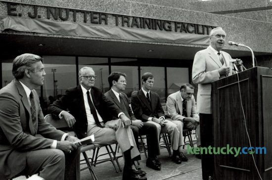 Dedication of the $5.7 million E.J. Nutter Training Facility, at that time a major upgrade to Kentucky football's training facilities, took place on September 11, 1987. Speaking was E. J. Nutter, a UK alumnus who contributed one million dollars to start the fund-raising campaign. From left were Cliff Hagan, athletics director, Otis Singletary, former university president, David Roselle, university president, Seth Hancock, a Kentucky horseman who donated $300,000 and Jerry Claiborne, UK's head football coach. UK's new $45 million football training facility, beside Commonwealth Stadium, will be ready for the team the first week of August. Photo by Jocelyn Williams | Staff