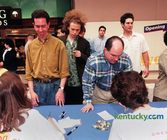 "Fans of the television show Seinfeld showed up in full force May 7, 1998 for Lexington's look-alike contest at Fayette Mall. 75 people entered the contest, celebrating the popular show's finale which aired a week later. The field was narrowed to 12 Elaines, five Jerrys and four Kramers. Only one George showed up. The look-alikes won signed scripts of ""The Contest"" Seinfeld episode and other gifts. Frome left, Keyth Sokol, (Jerry), Willie Davis, (Kramer), Brian Staples, (George), Larry Ashlock, (Kramer) ckecked-in for the contest. Staples won for George, Ashlock for Kramer and in the background is Jason Cunningham, who won as Jerry. Photo by Mark Cornelison 