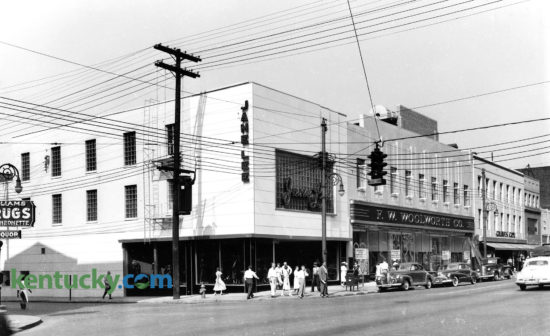 View of Main Street in downtown Lexington looking west in August of 1948, a month before the F.W.Woolworth store was to open. The business'  making up this block included Jane Lee, left, Woolworth, and Graves Cox. The buildings on this block were razed in 2008 to make way for the CentrePointe development. Published in the Lexington Herald-Leader August 29, 1948. Herald-Leader Archive Photo