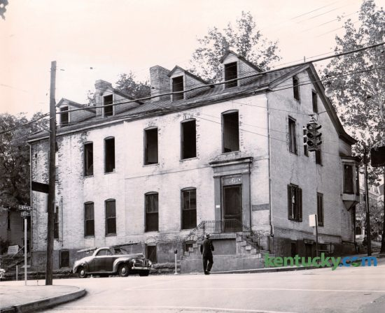 Demolition of the 150-year-old structure at High and Upper Streets, then known as Kentucky Inn, started in October of 1954. A state office building was to go up on the site to house district offices of the Department of Economic Security and other agencies. Published in the Lexington Leader October 14, 1954. Herald-Leader Archive Photo
