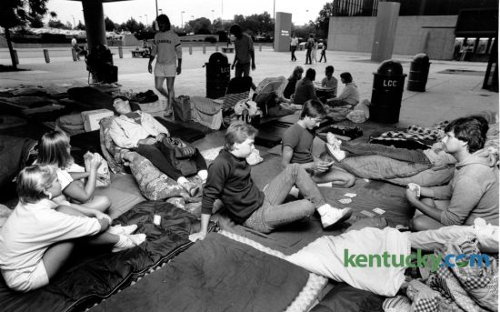 Rock and Roll fans made themselves comfortable outside the Lexington Center ticket office August 1, 1985, as they prepared to spend the night so they would be in line when Tina Turner's concert tickets went on sale the next morning. Turner's Private Dancer Tour played Rupp Arena September 6. Photo by Ron Garrison | Staff