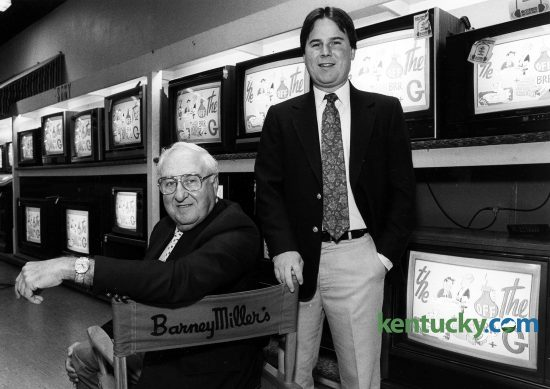 Harry Miller and son Barney Miller inside their electronics store, Barney Miller's, on East Main Street in downtown Lexington, Oct. 21, 1988. The store was opened in 1922 by Barney Miller, Harry's father, as an auto accessory store. He began selling radios about one year after opening and radio became his exclusive product during the depression of the 1930s. After a trip to the 1939 World's Fair in New York where they saw a RCA demonstration of television, the father and son team ordered 10-inch black and white sets to sell. Harry sold the first TV in Kentucky to Warren Wright Jr. at Calumet Farm for $600. Harry took charge of the company in the late 1940s and '50s because his father, who died in 1965, was ill during those years. The younger Barney took over in the 1980s. Photo by Charles Bertram   staff