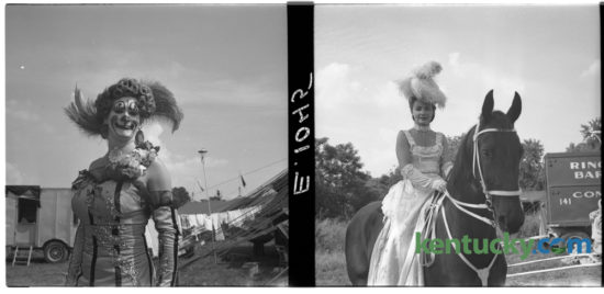 Two unidentified performers with Ringling Brothers, Barnum and Bailey Circus, wait for their show call outside the big top in Lexington July 27, 1950. These photos are part of a series or portraits Herald-Leader photographer John C. Wyatt produced while the circus was in town for a one-day two-performance stand at the show grounds on Newtown Pike. The Ringling Bros and Barnum Bailey Circus Xtreme has been in Rupp Arena this weekend and will have two more shows today, at 2pm and 7pm.