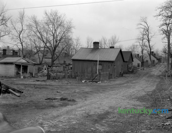 Rundown housing along an alley that was part of Kenton Street, showing an area that was part of the city's slum clearance project in March 1954. Published in the Lexington Leader March 24, 1954. Herald-Leader Archive Photo