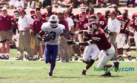 Kentucky wide receiver Craig Yeast ran with the football after catching a Tim Couch pass in UK's 35-27 loss at Mississippi State in the second game of the 1997 season. The Wildcats are 18-0 in the second game on their schedule since. Photo by Mark Cornelison | staff