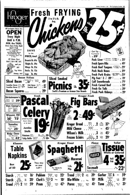 Full page advertisement in the Nov. 4, 1957 Lexington Leader for Kroger grocery store. At the time of this ad, Lexington had five Kroger stores. Today there are nine Lexington area Kroger locations. The ad says the Lexington stores were closed at 6 p.m., Monday through Thursday. On Friday and Saturdaythey closed later. Some of the items advertised are Beanee Weeneds $.21 for an eight-ounce can; $.19 for a stalk of celery; and two loaves of bread for $.37.