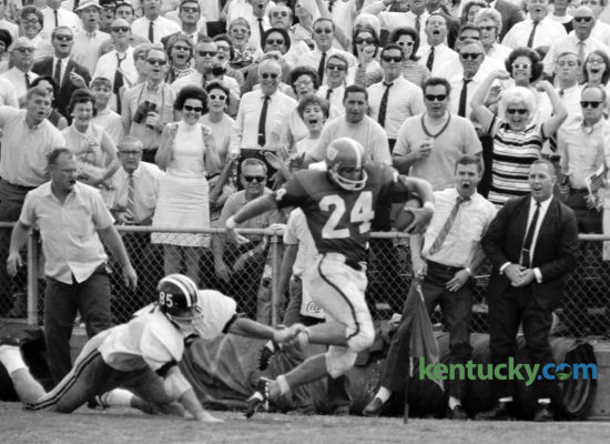 Kentucky's Dicky Lyons crossed the goal line in front of Missouri's Elmer Benhardt, scoring the winning touchdown, September  21, 1968 as the Wildcats defeated the Tigers 12-6 in Lexington. Thirty-four thousand sun-drenched fans witnessed the season opeing win at Stoll Field, however UK would finish the year 3-7, ending coach with Charlie Bradshaw's resignation. It would be 44 years later for the two teams to meet again, when Missouri joind the Southeastern Conference in 2012. UK and Mizzou will meet for the seventh time Saturday. Photo by Frank Anderson | Staff