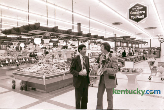 A new Kroger Superstore opened at Nicholasville Road and New Circle in March 1975. Bob Hilen, left, store manager, and Mike Ryan, produce merchandiser, posed in the produce area with some unusual varieties, including papaya, English cucumbers and bok chow. The store featured produce sold in bulk. The customer selected the quantity desired and an employee was there to weigh it and price it. Photo by John C. Wyatt | Staff