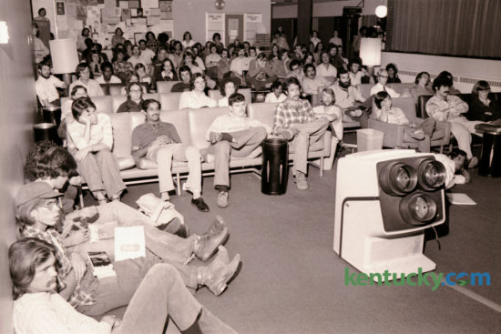 Students at the University of Kentucky watched the Presidential debate on television in the UK Student Center between President Gerald Ford and Jimmy Carter on September 23, 1976. Most observers called the debate a draw. The relatively unknown former Governor of Georgia, the Democratic, prevailed over incumbent President Gerald Ford the Republican, in the general election. Tonight marks the third and final debate between former Secretary of State Hilary Clinton and businessman Donald Trump. Photo by David Perry | Staff