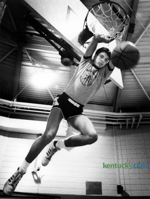 Apollo High Schhol's Rex Chapman, photographed Oct. 11, 1985 in Owensboro. Chapman was one of the most heavily recruited high school basketball players to ever come out of Kentucky. This photo ran with a story chronicling the hype and rumors surrounding his recruitment. Click here to read that story. He choose to play collegiately for Kentucky before declaring for the NBA Draft after only two seasons in Lexington. In 1988, he was drafted eighth overall by the Charlotte Hornets. He went on to play for four NBA teams through his 12-year career in the league. Click here to see a photo from our archives of Chapman's game against rival Louisville in his freshman year. The Kentucky basketball radio pregame show will open the season with a new lineup in 2016-17 that features Chapman as co-host. Photo by Charles Bertram | staff
