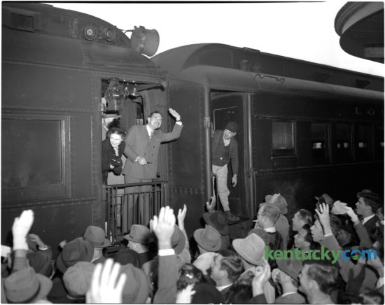 New York Governor Thomas E. Dewey, Republican nominee for president waved to the crowd after arriving at Union Station in downtown Lexington on Tuesday October 12, 1948. Dewey, accompanied by his wife, Frances, was on a one-day campaign swing through the state.  The governor spoke for approximately 20 minutes to a crowd estimated anywhere from 4,500 to 7,500. Dewey was running against incumbent Democratic President Harry S. Truman, who succeeded to the presidency after the death of President Franklin D. Roosevelt in 1945. The election is considered to be the greatest election upset in American history. Virtually every prediction indicated that Truman would be defeated by Dewey. Truman received 49.6 percent of the popular vote, while Dewey had 45.1 percent. Herald-Leader Archive Photo