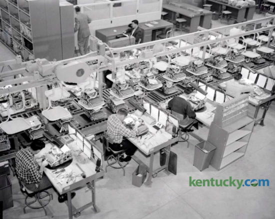 "The pilot assembly line at the new IBM plant on December 26, 1956, produced the firm's first electric typewriter to be manufactured in Lexington. W. F. Blackerby, president of Realty Mortgage Company, received the first typewriter, a 16-inch bookcase academic type. He had placed an order that August requesting ""the first machine to come from the Lexington plant."" IBM, LexmarkÕs industrial forerunner, was the dominant Lexington private employer of its day. In 1956, the company decided to build a 386,000 square foot typewriter plant off New Circle Road that employed 1,800 people. By 1985 IBM had 6,000 workers. In 1990, IBM decided to get out of the printer business. Clayton, Dubilier & Rice, a private New York investment firm that specialized in turning around business divisions bigger corporations discarded, bought the division and appointed Marvin Mann, then with IBM, as chairman and CEO of Lexmark. The company remained headquartered in Lexington at the plant site on Newtown Pike. In April 2016 it was announced that Lexmark was being acquired by a three-pronged Chinese consortium. On Nov. 29, 2016, the acquisition was completed, and the company announced it was shedding its enterprise software business, once the cornerstone of its business strategy. Herald-Leader Archive Photo"