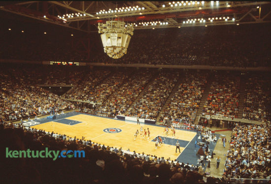 The University of Kentucky men's basketball Wildcats made their move into Rupp Arena on Nov. 27, 1976, playing against the University of Wisconsin and ending over two decades of play in historic Memorial Coliseum on UK's campus. The Wildcats won 72-64, playing in front of 23,266 fans. Photo by David Perry | Staff