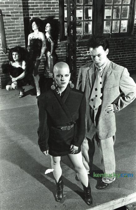 The Thrusters, the Lexington new-wave band, was fronted by singer and dancer Becky Sturdivant, left, and Bradley Picklesimer, lead singer, when they posed for a photo in February 1981. In the background are the Mystery Girls, Audrey, Trixie and Chris, the band's go-go dancers. In the 1980's Picklesimer, was Lexington's premiere drag queen and performed at a variety of downtown bars and nightclubs, including two he owned, Club au Go Go and Cafe LMNOP. In 1991 he moved to Hollywood and became a successful event planner. He has recently moved back to Kentucky to his family home in Johnson County and was featured in an article in Saturday's Herald-Leader. Photo by Ron Garrison | Staff