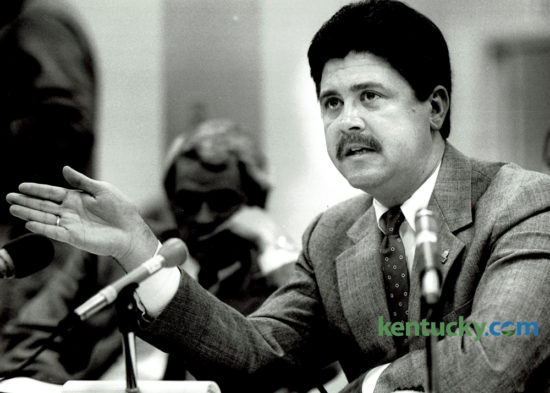 State representative Greg Stumbo, D-Prestonsburg, answered questions about the state lottery bill he sponsored before the Senate State Government Committee on December 12, 1988. Stumbo, the House Speaker, was defeated yesterday in his bid for reelection  by Republican Larry D. Brown, also of Prestonsburg. Stumbo had served in the House since 1980, except for a stint as attorney general from 2004 through 2007, and has been House speaker since 2009. Photo by Ron Garrison | Staff
