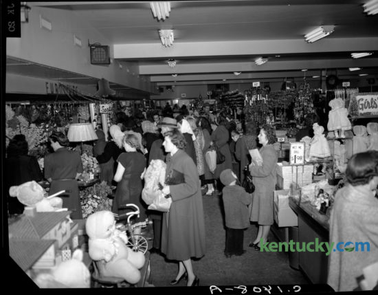 "A crowd of Christmas shoppers filled the S. S. Kresge Store in downtown Lexington on December 9, 1948. S.S. Kresge, a Detroit, Michigan company, brought their 5 and 10 cent stores to Lexington in 1912. The downtown store was at  250  West Main Street, across from Cheapside Park. The store closed in 1967 and is now the site of the Lexington Financial Center, more commonly known as the ""Big Blue Building."" The S.S. Kresge Co. was renamed Kmart Corp. in 1977."