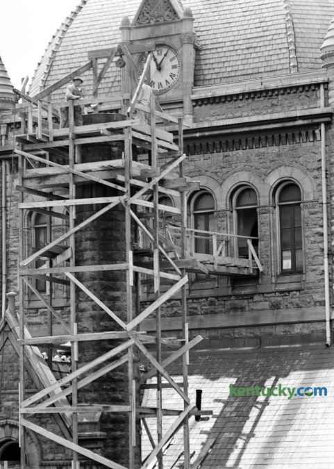 Scaffolding surrounded the Fayette County Courthouse in May 1947 as repair work was done to the chimney. The building, which was built in 1898, is currently undergooing a $30 million renovation which expected to take more than a year to complete. Recently the copper horse on the weathervane returned to the top of the bell tower at the courthouse. Published in the Lexington Leader May 22 1947. Herald-Leader Archive Photo