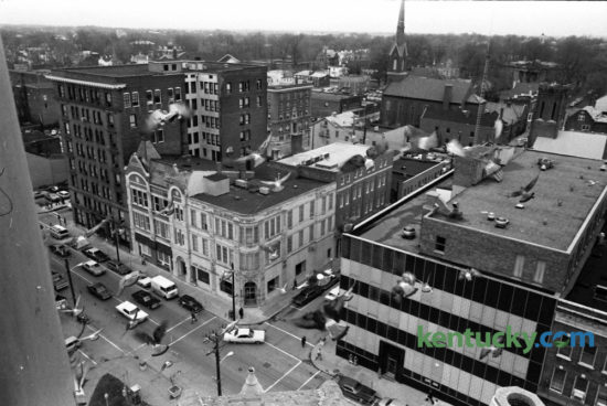 View from the old Fayette County Courthouse bell tower looking looking toward Market and Short streets in December 1974. At right is the old Herald-Leader building. Photo by Tom Carter | Staff
