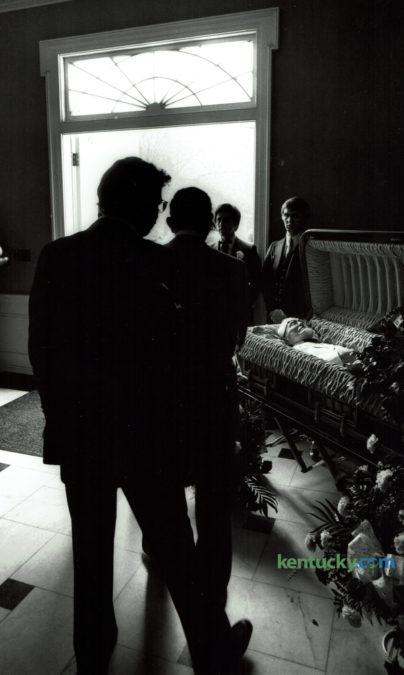 Colonel Harland Sanders, known for founding fthe Kentucky Fried Chicken restaurant chain,  laid in state prior to his funeral at Southern Baptist Theological SeminaryÕs Alumni Chapel in Louisville on December 20, 1980. Attended by an estimated 1000 mourners, the 90-year-old Col. Sanders was buried in his characteristic white suit and black western string tie in Cave Hill Cemetery in Lousiville. Sanders died at Jewish Hospital in Louisville of pneumonia this date in 1980. Photo by Charles Bertram | Staff