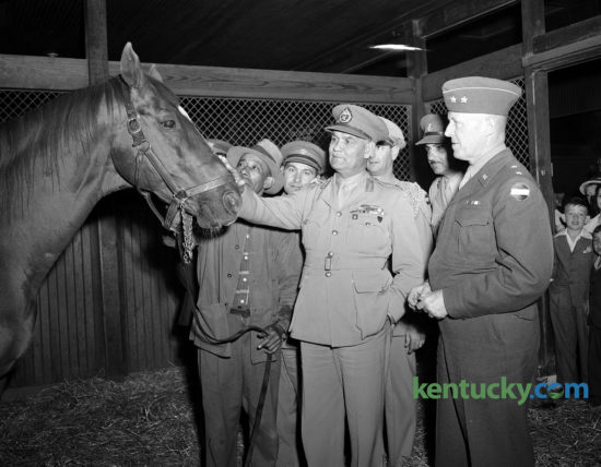 An Egyptian Army delegation touring U.S. military installations, including Kentucky's Ft. Knox, made the trip to Faraway Farm in Fayette County to meet Man o' War on May 4, 1947. Lieutenant General Ibrahim Pasha Atalla, chief of staff of Egyptian Army, gave Big Red a pat as he was held by groom Bob Groves. Major General John W. Leonard, right, commanding general of the armored center at Fort Knox, looked on. In the background are several Egyptian and American officers, members of the entourage  that accompanied the generals to Lexington. Published in the Lexington Leader May 5, 1947. Man o' War, considered one of the greatest Thoroughbred race horses of all time, died five months later. A life-size sculpture and memorial marks his grave-site at the Kentucky Horse Park. Lexington's Man o' War Boulevard is named after him. Herald-Leader Archive Photo
