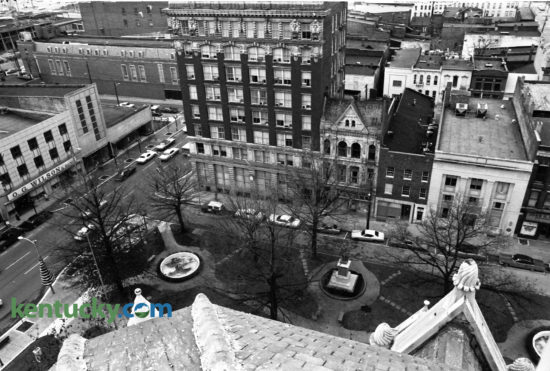 View from the old Fayette County Courthouse bell tower looking down on Cheapside Park and Main Street in December 1974. Photo by Tom Carter | Staff