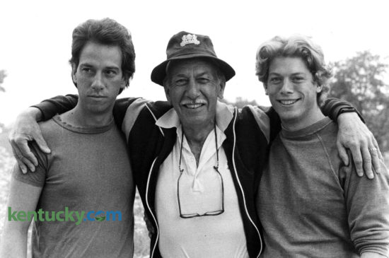 """Oscar-winning actor José Ferrer and sons Miguel, left, and Rafael, were in Woodford County in June 1982 for the filming of a Thoroughbred racing movie, """"And They're Off."""" All three Ferrers had roles in the film, as did George Clooney in his first film role. José Ferrer, who won the 1950 best actor Oscar for his role in """"Cyrano de Bergerac,"""" was married twice to Kentucky native Rosemary Clooney, George's aunt. Miguel and Rafael were two of their five children. Miguel Ferrer, who was 25 when this photo was taken, died Thursday at age 61. He had been fighting throat cancer. He had a long TV and film career, including key roles in the series """"Twin Peaks,"""" """"Crossing Jordand"""" and more recently """"NCIS: Los Angeles."""" He also had key roles in the films """"Robocop,"""" """"Traffic"""" and """"The Manchurian Candidate."""" """"And They're Off"""" had a $10 million budget but earned only $7 million at the box office. Published in the June 13, 1982 Sunday Herald-Leader. Photo by Joyce Rupolph."""