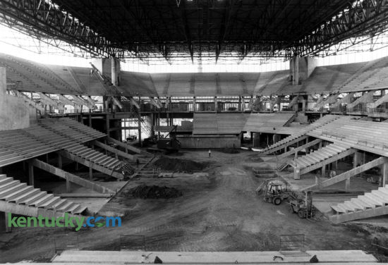 Construction of the University of Tennessee's Thompson-Boling Arena in Knoxville, June 11, 1986. The home of the Tennessee men's and women's basketball teams opened in 1987 and is currently the third-largest on-campus basketball arena in the country with a seating capacity of 21,678. The distance from the playing floor to the roof is 120 feet, the equivalent of a 12-story building. In 2008 the stadium underwent a $35 million renovation that added loge seating and 32 luxury suites on the arena's north side. Only Syracuse's Carrier Dome, which also is utilized for football, and UNC's Dean Smith Center can seat more on-campus basketball fans. Men's basketball games against Kentucky occupy four of the top six attendance records at the stadium. Photo by Frank Anderson | staff