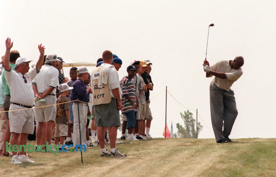 Charles Barkley's golf swing is known for having a major hitch at the top of his swing. Barkley was paired with former baseball players Doug Flynn, Rick Rhoden and Gorman Thomas on the final day of the two-day, $250,000 Central Baptist Hospital Charity Classic, Aug. 23, 1998 at Lexington's Kearney Hill Golf Links. The Celebrity Players Tour event was added when Lexington lost the Senior's PGA's Bank One Senior Classic. The celebrity tournament ended in 2001. Photo by David Stephenson | staff