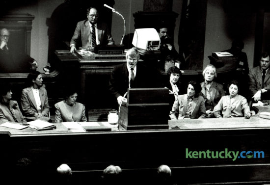 Kentucky Governor John Y. Brown, Jr. delivered his budget address to a joint session of the Legislature on January 7, 1982. Brown's $9.97 billion budget proposed no new taxes and was to provide money for mandatory statewide kindergartens and salary raises for teachers, firefighters, police officer and state employees. Governor Matt Bevin is scheduled to issue his second State of the Commonwealth Address to member of the Kentucky General Assembly tonight at 7pm. Photo by David Perry | Staff