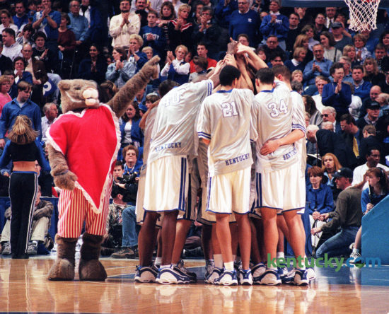 The University of Kentucky Wildcat mascot donned a heart costume in honor of Valentines Day before the Feb. 13, 1999 Kentucky-South Carolina game at Rupp Arena. Gavin Duerson, a senior, was in his third year of being the UK mascot. Photo by Janet Worne | staff