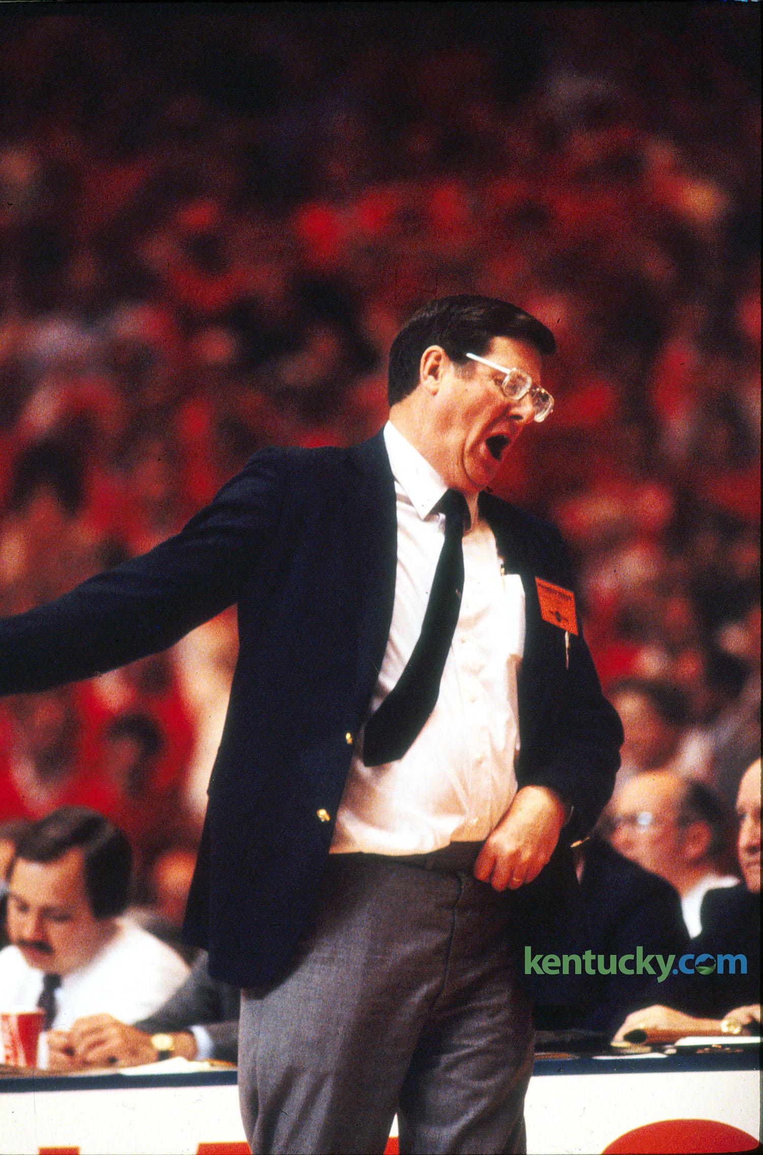 UK coach Joe B  Hall during first 'Dream Game,' 1983